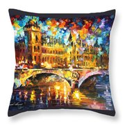 River City - Palette Knife Oil Painting On Canvas By Leonid Afremov Throw Pillow