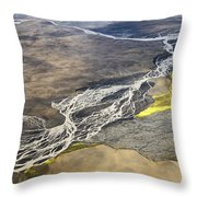River Delta Iceland Throw Pillow