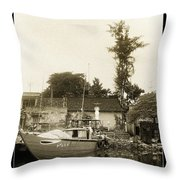 River Fishing Boat In Hoi An Throw Pillow