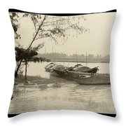 River Fishing Boats In Hoi An Throw Pillow