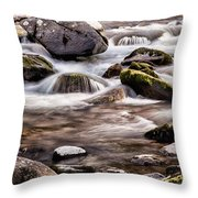 River Flowing Over Rocks Throw Pillow