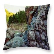 River Flowing Through Rocks, Black Throw Pillow