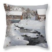 River Flowing Under A Bridge Throw Pillow