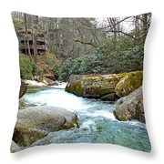 River House In Spring Throw Pillow