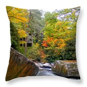 River House In The Fall Throw Pillow