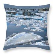 River Ice Throw Pillow