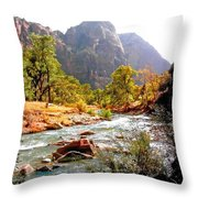 River In Zion National Park Throw Pillow
