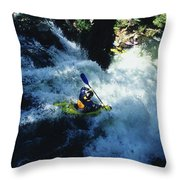 River Kayaking Over Waterfall, Crested Throw Pillow