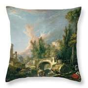 River Landscape With Ruin And Bridge Throw Pillow