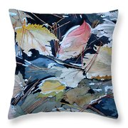 River Leaves Throw Pillow