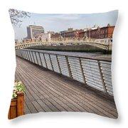 River Liffey Boardwalk In Dublin Throw Pillow