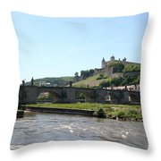 River Main With Fortress - Wuerzburg Throw Pillow