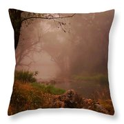 River Mist On A Mystical Morning Throw Pillow