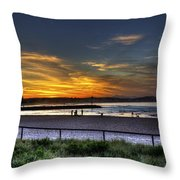 River Mouth At Sunset Throw Pillow