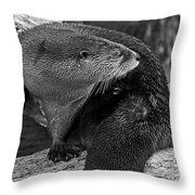 River Otter In Black And White Throw Pillow