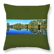 River Panorama And Reflections Throw Pillow by Kaye Menner
