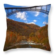 River Rafting At New River Throw Pillow