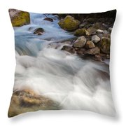 River Rapids Washing Over Rocks With Silky Look Throw Pillow
