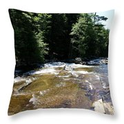 River Running Over Rocks Throw Pillow