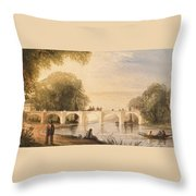 River Scene With Bridge Of Six Arches Throw Pillow by Robert Hindmarsh Grundy