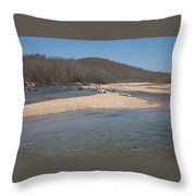 The Black River In Winter Throw Pillow