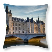 River Seine With Conciergerie Throw Pillow