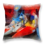 River Speed Boat Number 2 Photo Art Throw Pillow