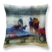 River Speed Boat Photo Art Throw Pillow