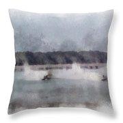 River Speed Boat Racing Photo Art Throw Pillow