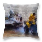 River Speed Boat White Photo Art Throw Pillow