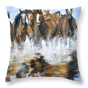 River Stampede Throw Pillow