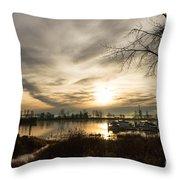 River Sunrise Throw Pillow