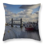 River Thames Waterfall Throw Pillow