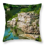 River Through The Rocks Throw Pillow