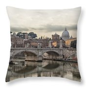 River Tiber In Rome Throw Pillow