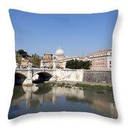 River Tiber With The Vatican. Rome Throw Pillow by Bernard Jaubert