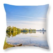 River Trees And City Skyline Throw Pillow