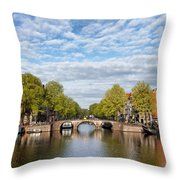 River View Of Amsterdam In The Netherlands Throw Pillow