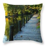 River Walk In Traverse City Michigan Throw Pillow by Terri Gostola