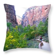 River Walk In Zion Canyon In Zion Np-ut Throw Pillow