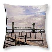 River Walk Wilmington Bridge Throw Pillow