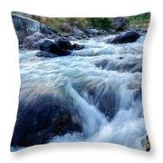 River Water Flowing Through Rocks At Dawn Throw Pillow