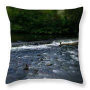 River Wye Waterfall - In Peak District - England Throw Pillow