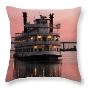 Riverboat At Sunset Throw Pillow