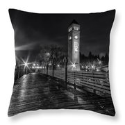 Riverfront Park Clocktower Seahawks Black And White Throw Pillow
