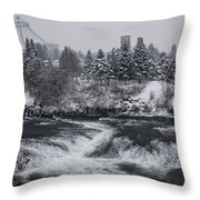 Riverfront Park Winter Storm - Spokane Washington Throw Pillow