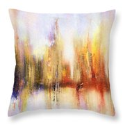 Riverfront Refraction Fine Art Painting Throw Pillow