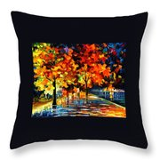 Rivershore Park - Palette Knife Oil Painting On Canvas By Leonid Afremov Throw Pillow