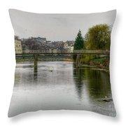 The River Kent At Kirkland In Kendal Throw Pillow