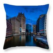 Riverside Blue Hour Throw Pillow